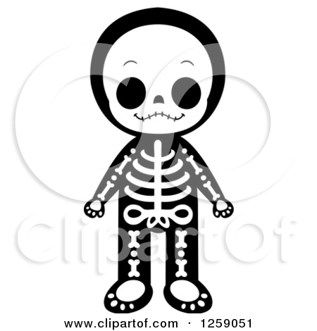 Clipart kids character heads vector royalty free library Clipart of a Kid in a Skeleton Costume - Royalty Free Vector ... vector royalty free library