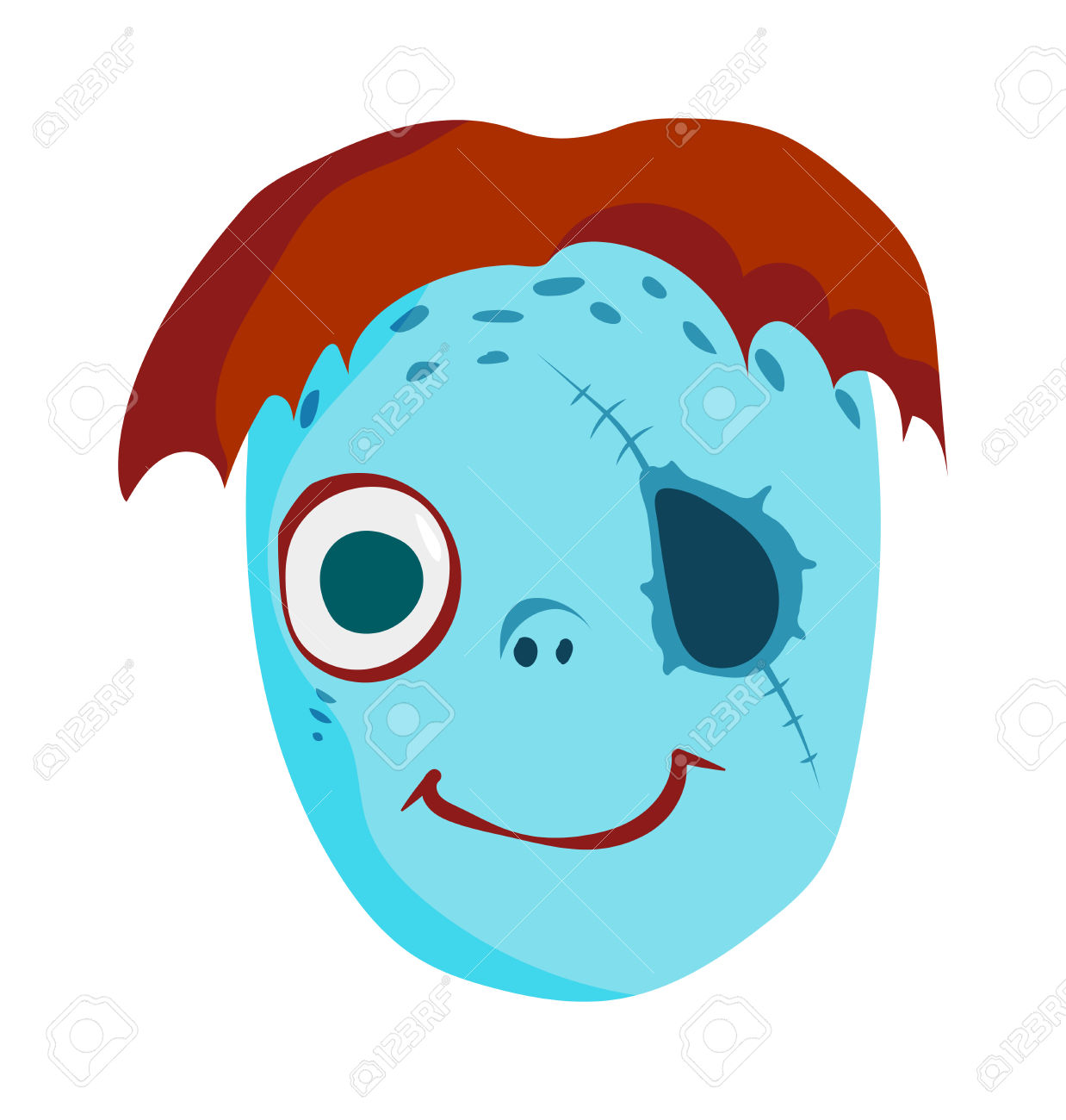 Clipart kids character heads free Zombie Head Cartoon Monster Character Scary Flat Vector ... free