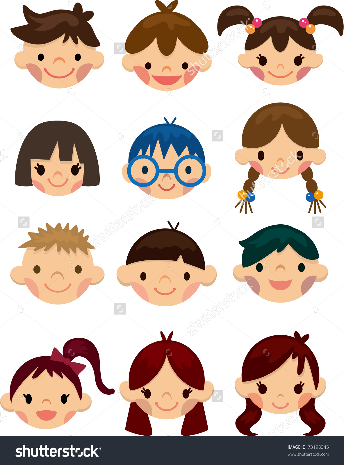 Clipart kids character heads image stock free children clipart. cute cartoon children vector. character ... image stock