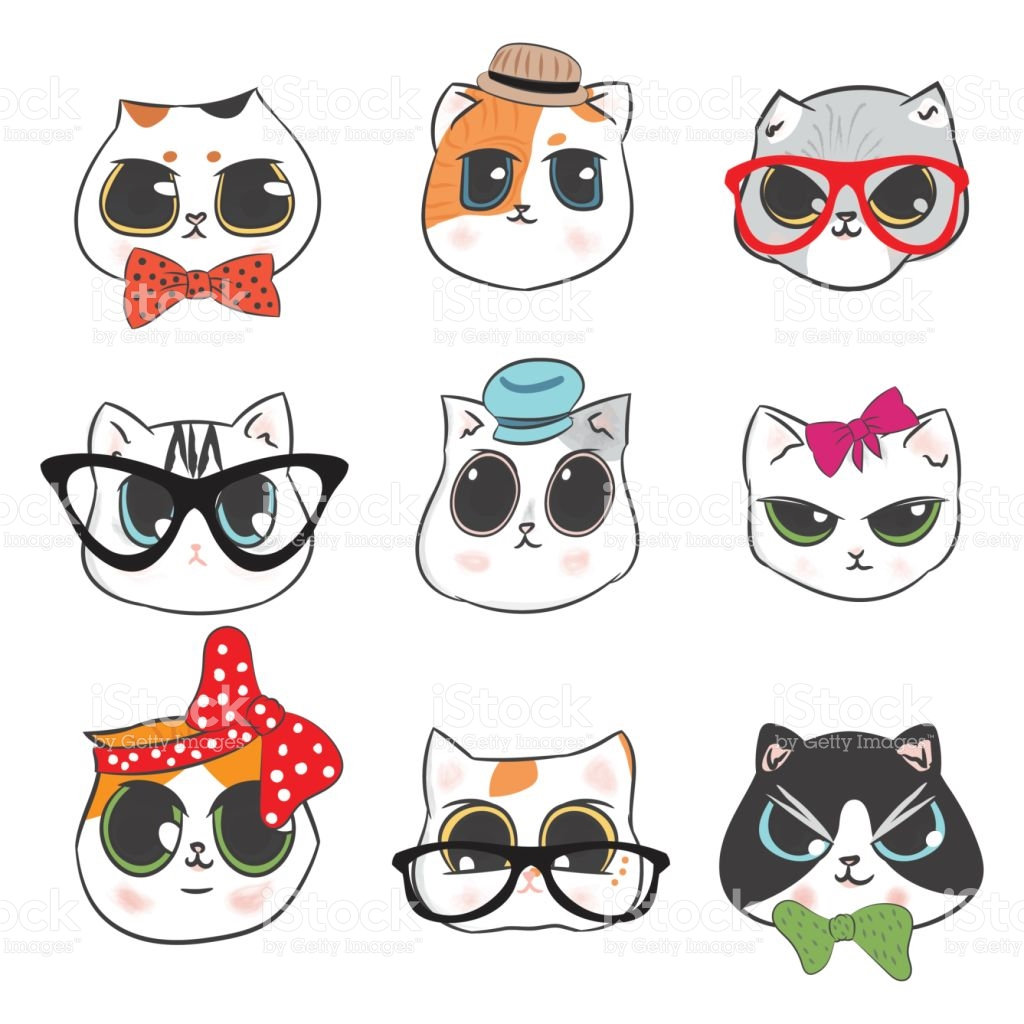 Clipart kids character heads jpg freeuse download Cute Cats Heads Doodle And Kitten Cartoon Fashion Character Design ... jpg freeuse download