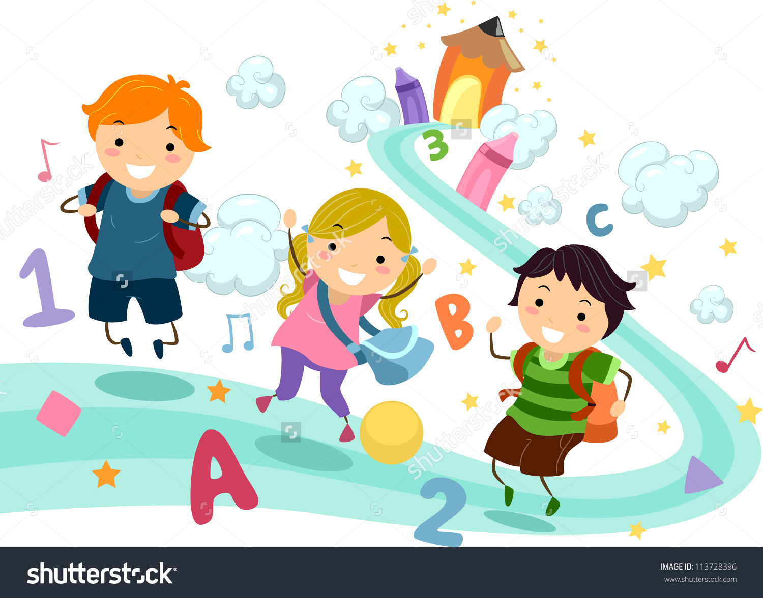 Clipart kids letters jpg Illustration Stick Kids Playing Numbers Letters Stock Vector ... jpg