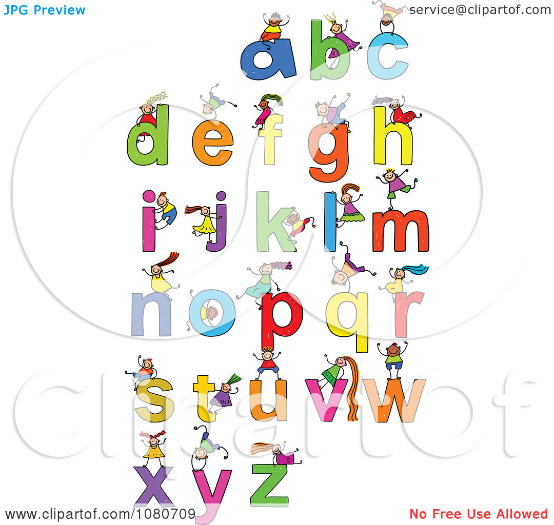 Clipart kids letters clip art black and white download Clipart Doodled Stick Kids Playing On Letters 3 - Royalty Free ... clip art black and white download
