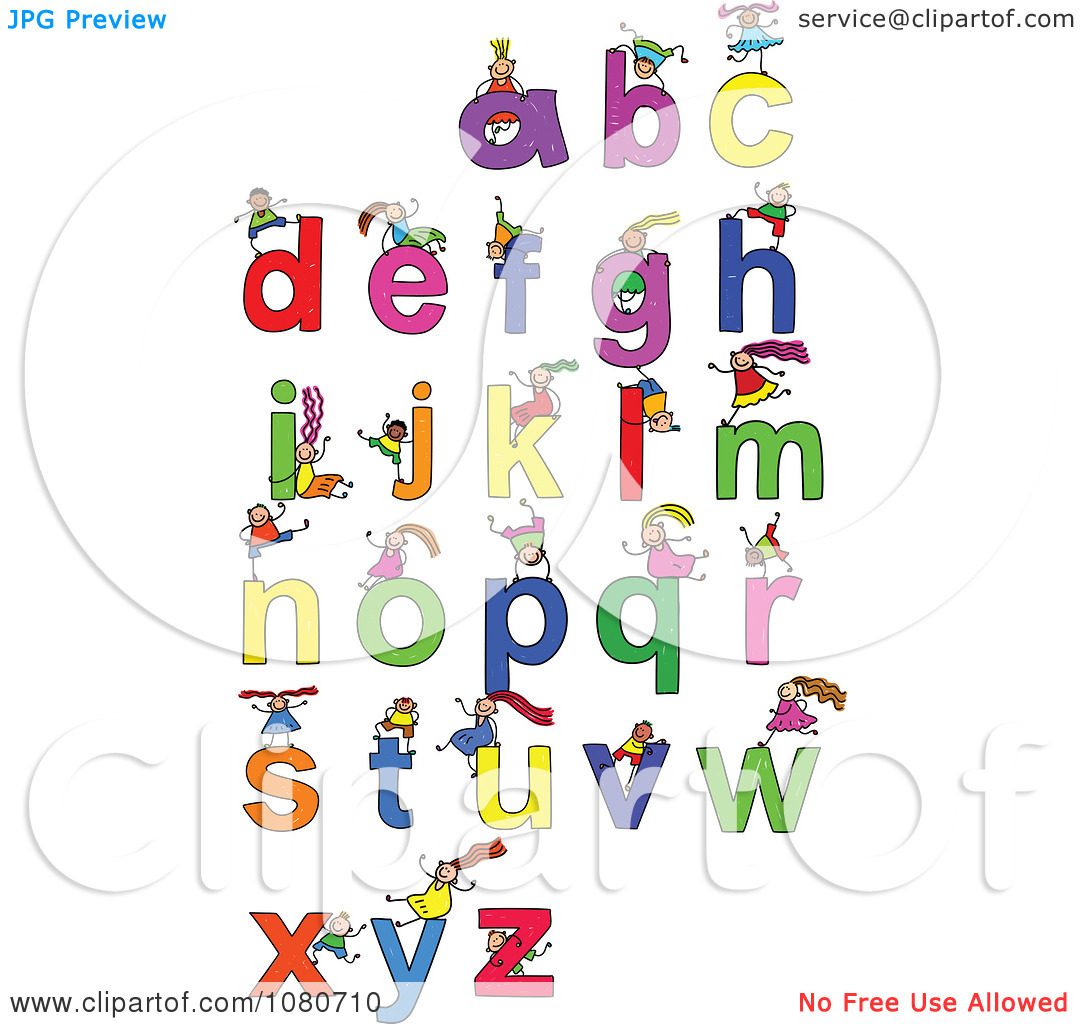 Clipart kids letters clip free stock Clipart Doodled Stick Kids Playing On Letters 4 - Royalty Free ... clip free stock