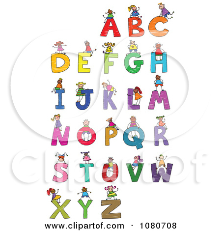 Clipart kids letters graphic royalty free download Clipart Doodled Stick Kids Playing On Letters 2 - Royalty Free ... graphic royalty free download