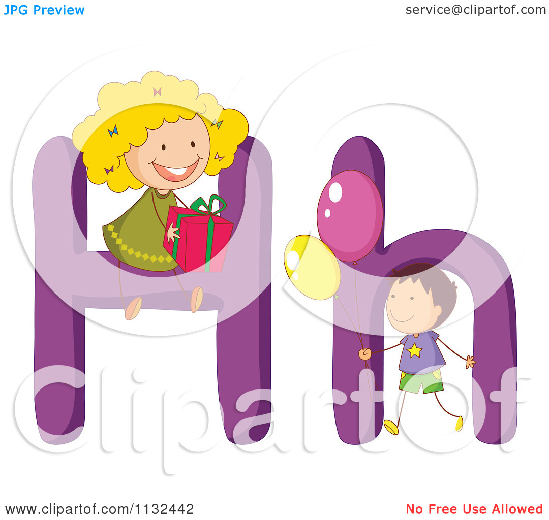 Clipart kids letters jpg black and white library Cartoon Of Alphabet Kids And Letters H - Royalty Free Vector ... jpg black and white library