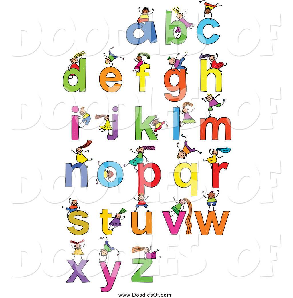 Clipart kids letters clip art download Vector Clipart of Doodled Kids Playing on Letters by Prawny - #1106 clip art download