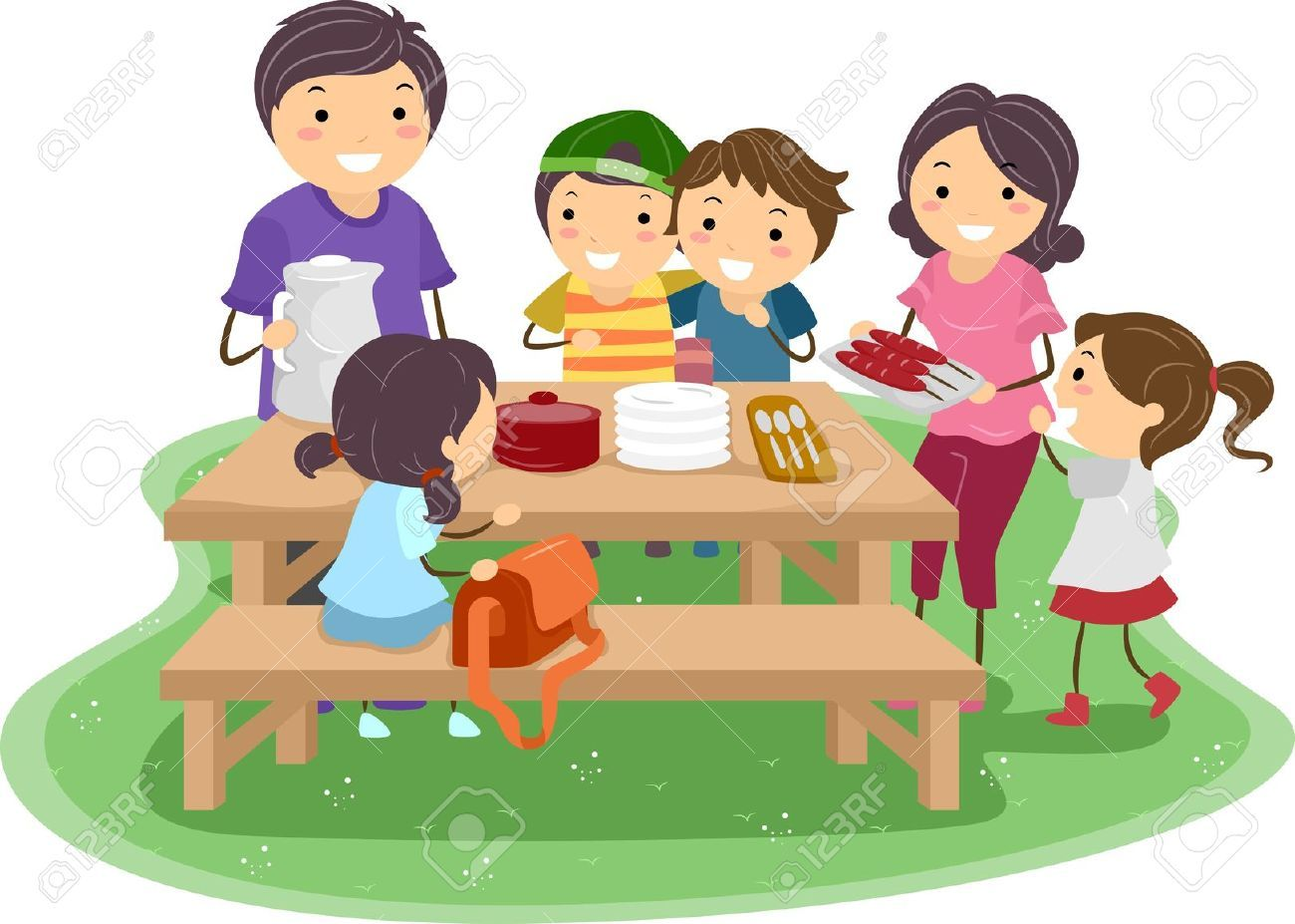 Clipart kids on a picnic image transparent stock Kids picnic clipart 3 » Clipart Portal image transparent stock