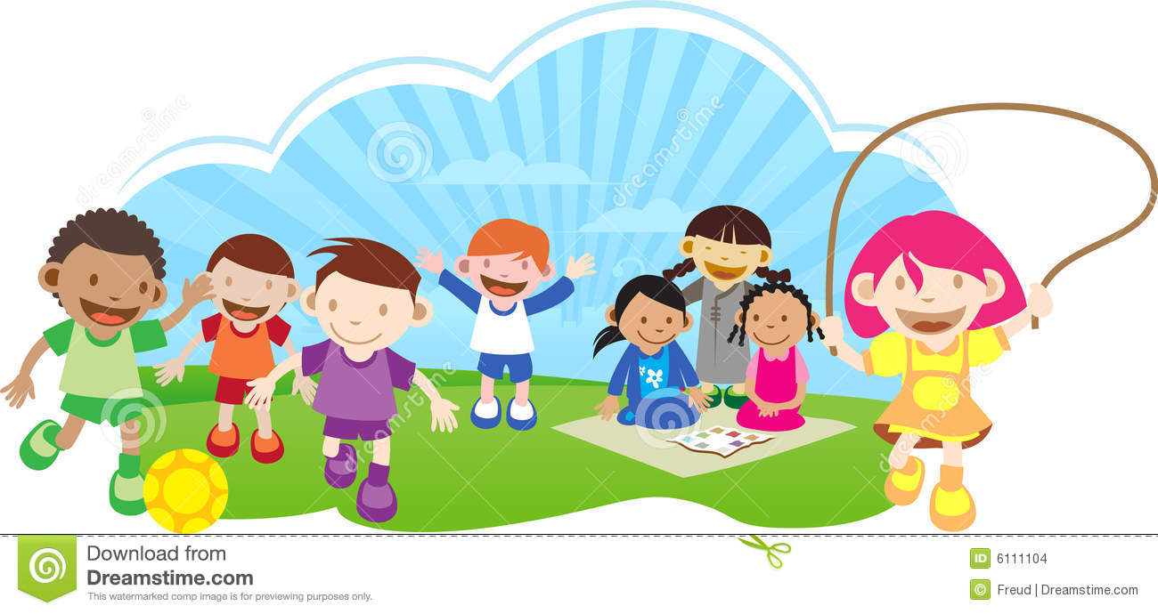 Free clipart children playing outside