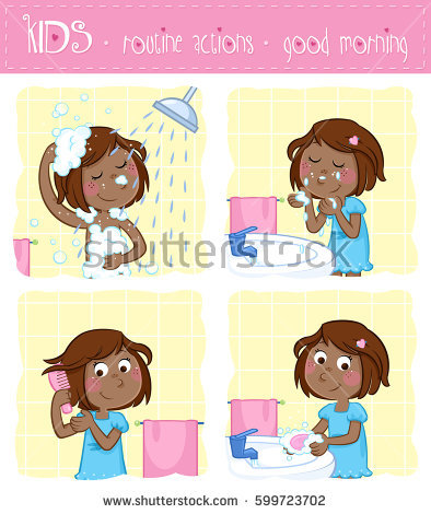 Clipart kids washing hands graphic library download Cute Little Girl Wash Her Face Stock Illustration 296778611 ... graphic library download
