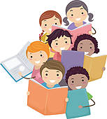 Clipart kids with books vector free stock Kids Reading Books Clip Art - Royalty Free - GoGraph vector free stock