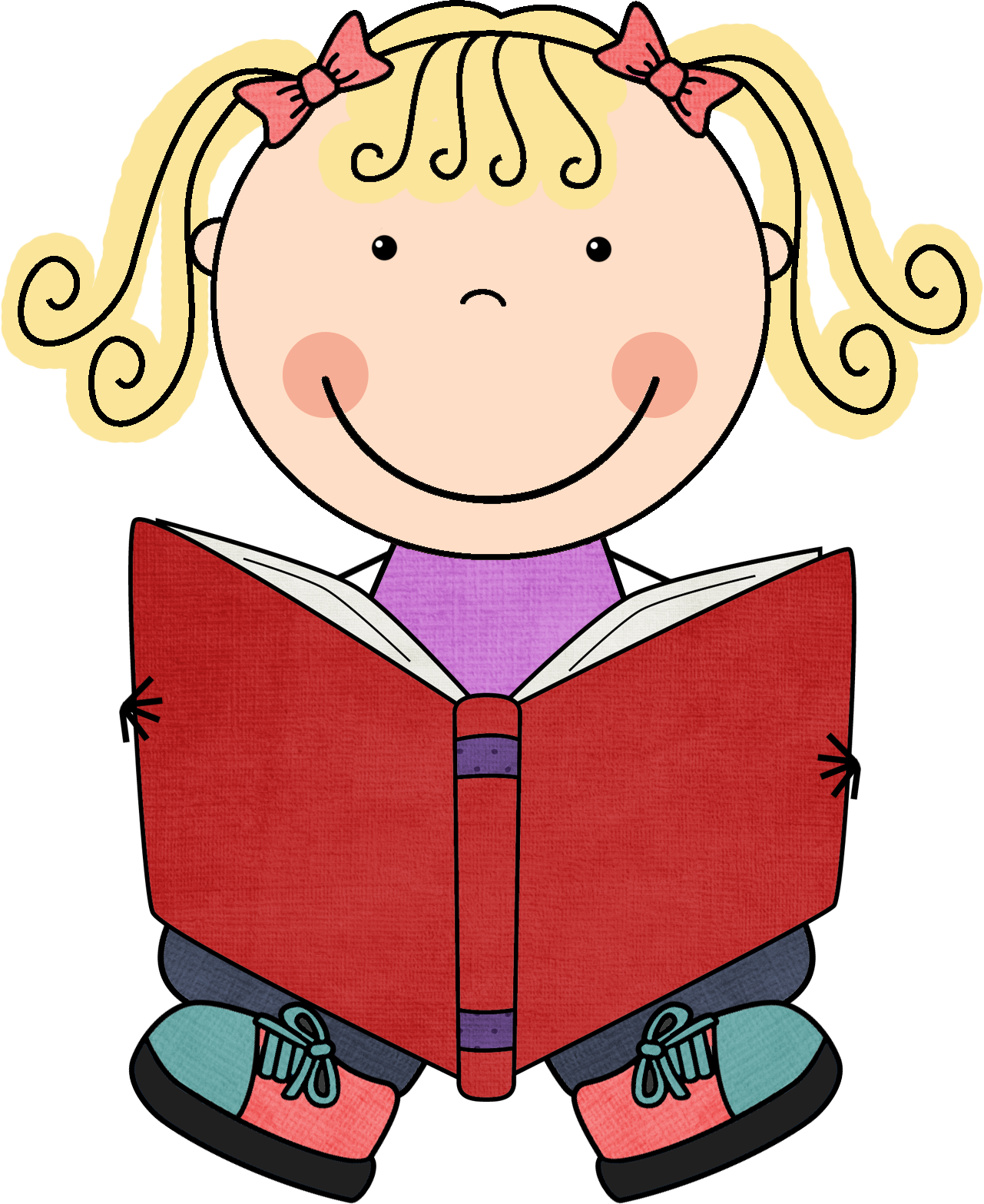 Child reading book clipart