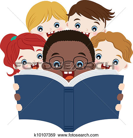 Clipart kids with books image black and white stock Clip Art of Children Reading Books k13711708 - Search Clipart ... image black and white stock
