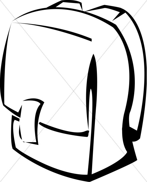 Clipart knapsacl picture black and white stock Black and White School Backpack | Christian Classroom Clipart picture black and white stock