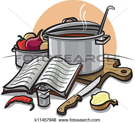 Cook book and illustration. Clipart kochen