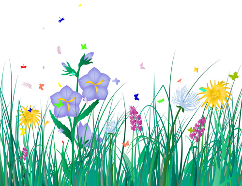 Clipart kostenlos schmetterling clipart transparent Kostenlose Gras Blumen mit Libelle und Schmetterling cliparts ... clipart transparent