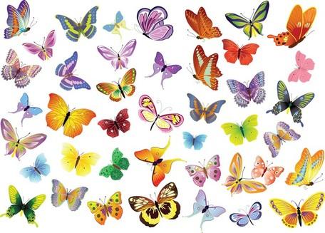 Clipart kostenlos schmetterling jpg transparent library Kostenlose Vector Gruppe der Schmetterlinge Dekoration, Clipart ... jpg transparent library