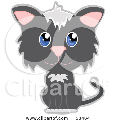 Clipart ktty with big eyes vector freeuse stock Royalty-Free (RF) Clipart Illustration of an Innocent Gray And ... vector freeuse stock