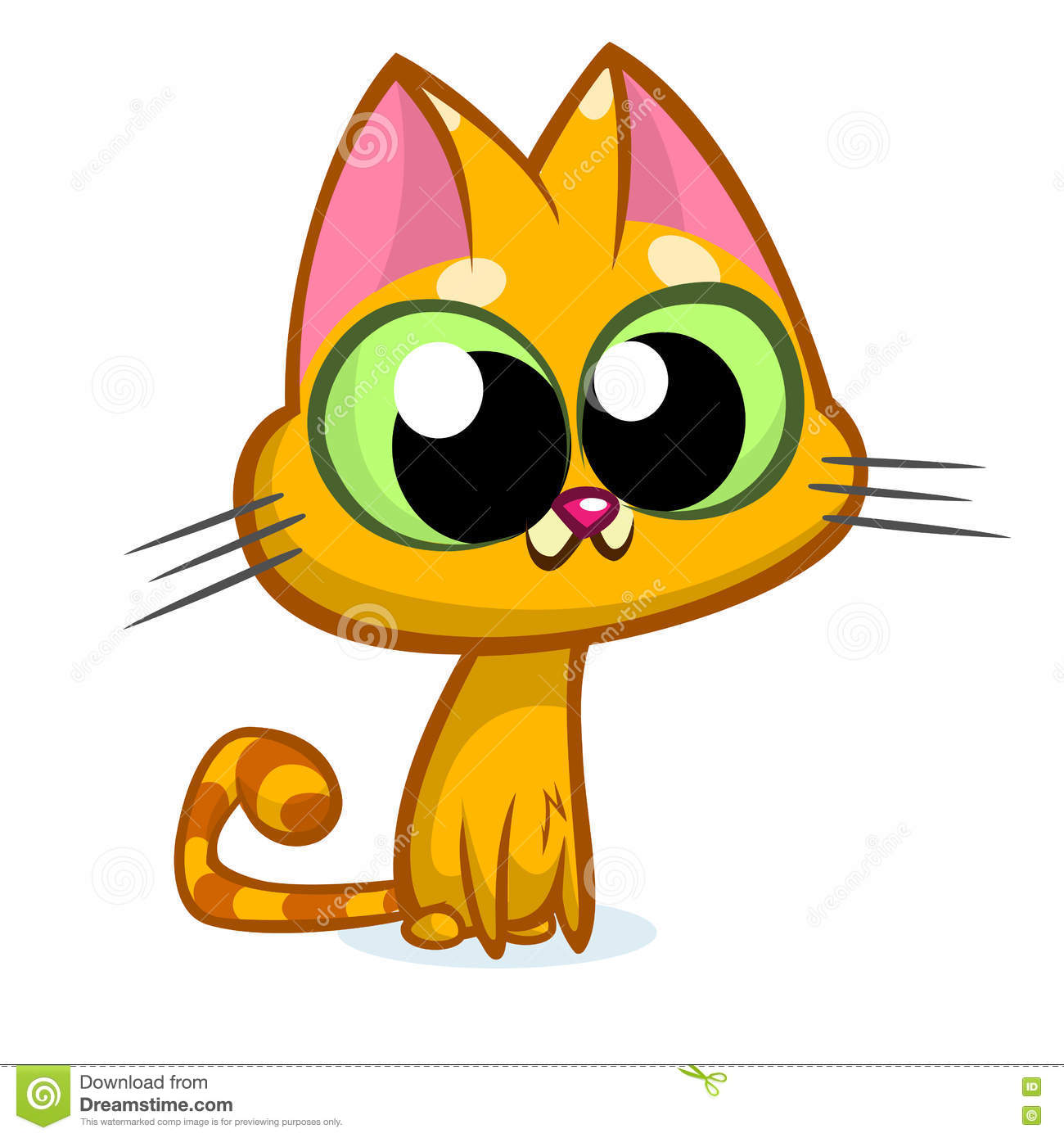 Clipart ktty with big eyes jpg download Illustration Of An Orange Striped Cat With Big Eyes Sitting And ... jpg download