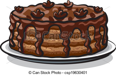 Clipart kuchenstck kostenlos image black and white stock Vector Clipart of chocolate cake csp19630401 - Search Clip Art ... image black and white stock