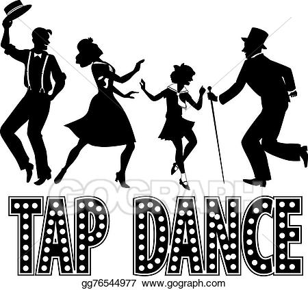 Dance clipart tap siloute picture black and white stock Clip Art Vector - Tap dance silhouette banner. Stock EPS gg76544977 ... picture black and white stock