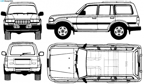 Clipart landcruiser image free download 1995 Toyota Land Cruiser FJ80 SUV blueprint | Petrol | Land cruiser ... image free download