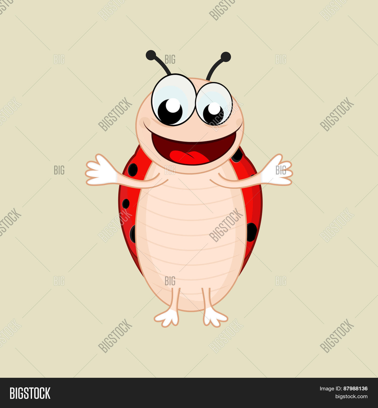 Clipart laughing bee picture black and white Character of laughing bee extending his arms on beige background ... picture black and white