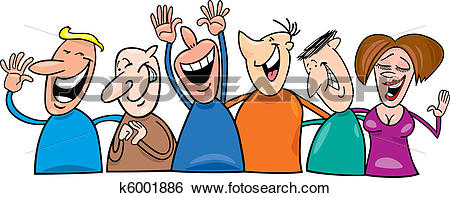 Clipart laughing people banner library Clip Art of Group of laughing people k6001886 - Search Clipart ... banner library