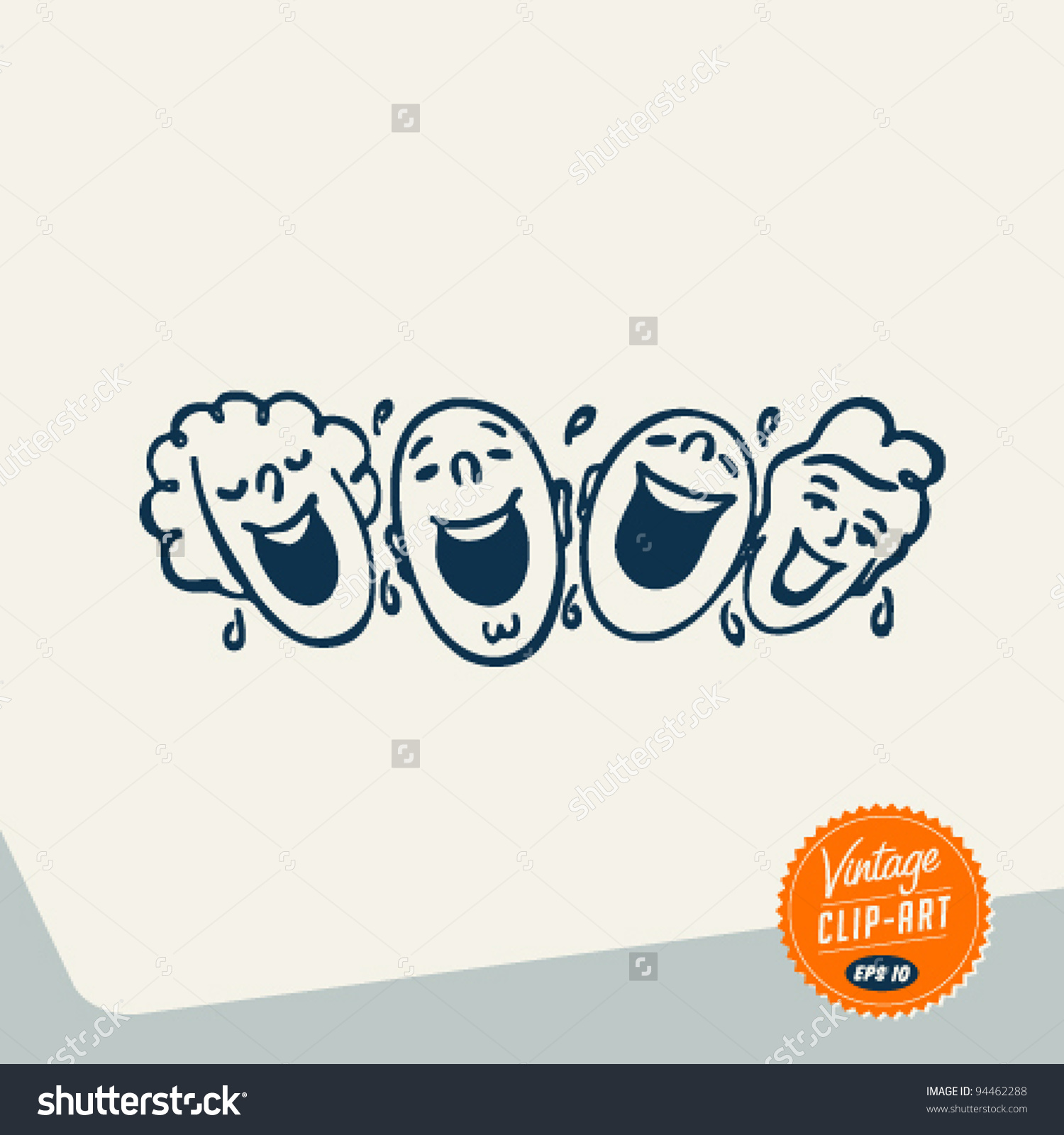 Clipart laughing people graphic transparent stock Vintage Clip Art People Laughing Out Stock Vector 94462288 ... graphic transparent stock