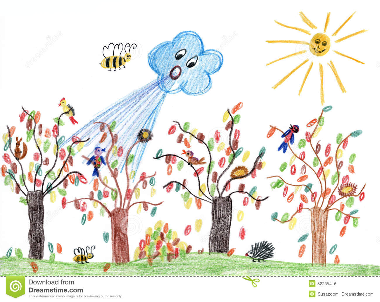 Wind blows leaves tree. Clipart le vent