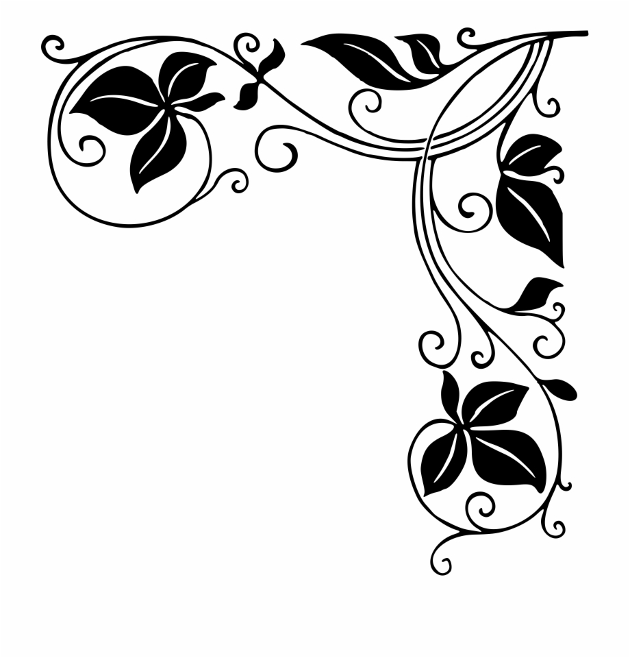 Clipart leaf black and white horizontal simple clipart download Corner Decoration Png 5 Png Image - Border Design Leaf Black And ... clipart download