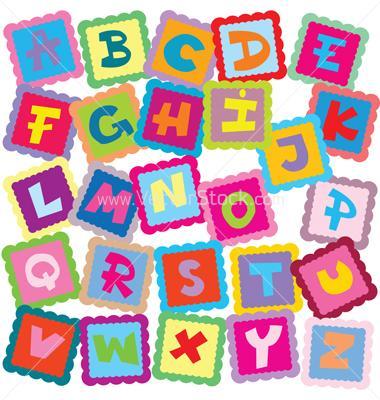 Printable kid large colorful. Clipart letters of the alphabet