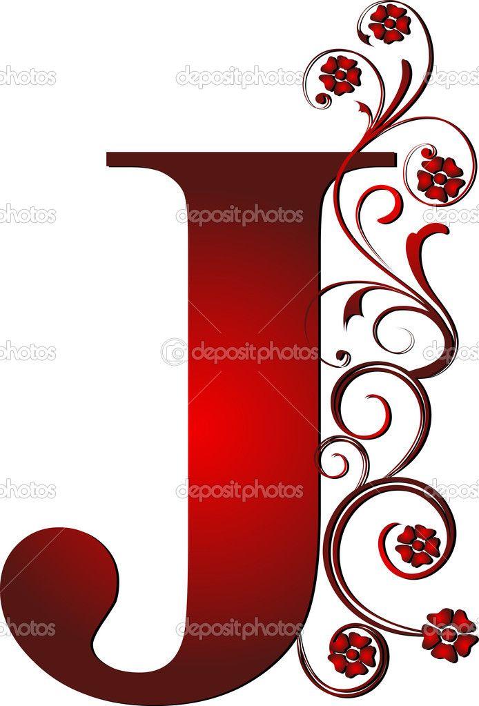 Clipart lettre free download Fancy Letter J Clipart   حروف حمراء   Tatouage, Calligraphie et Lettre a free download