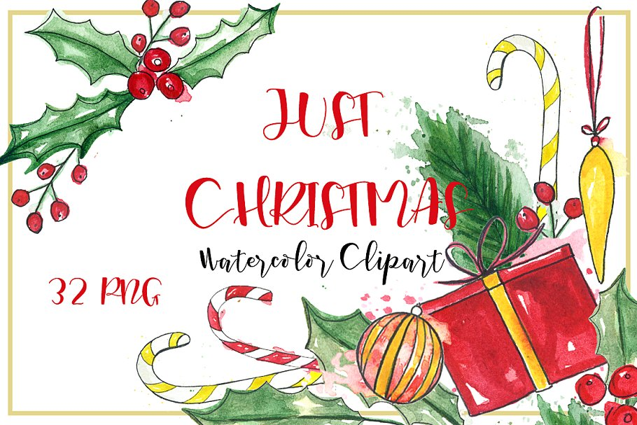 Clipart library collection of christmas sports clipart 32 png black and white stock Just Christmas. Watercolor clipart. png black and white stock