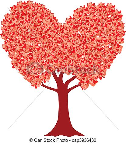 Clipart liebe. Vector of love tree