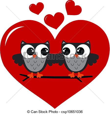 Clipart liebe. Vectors of two owls