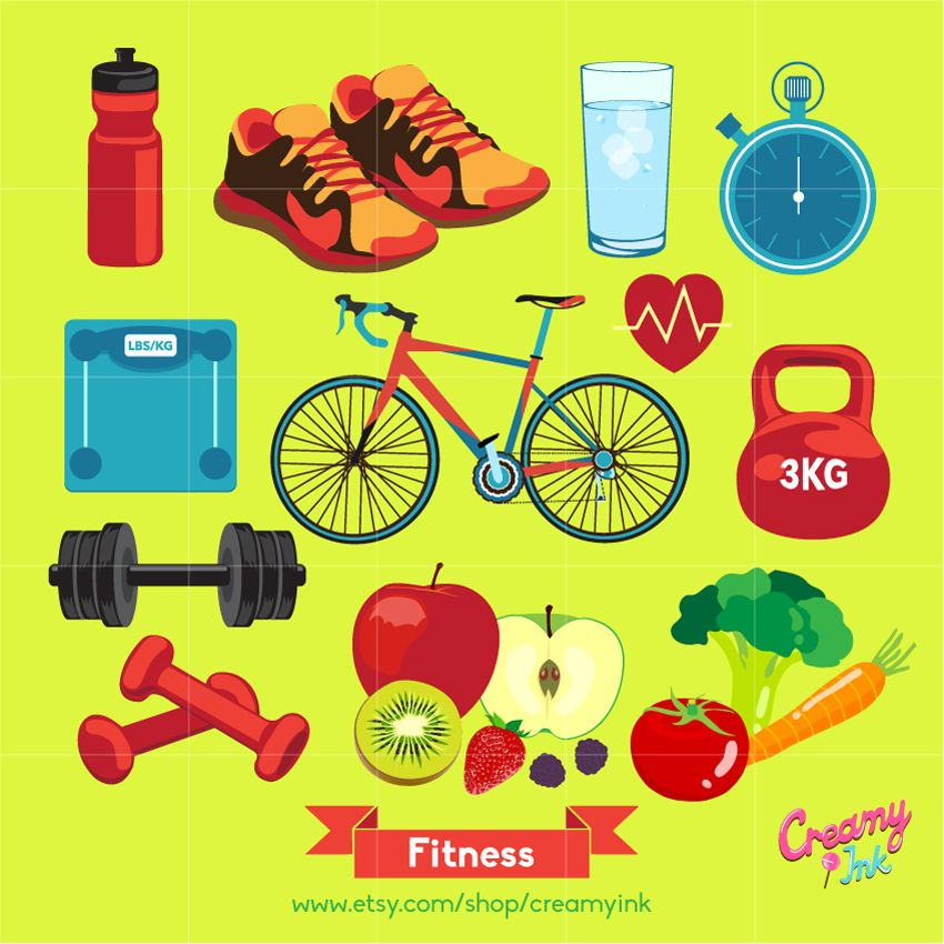 Healthy lifestyle clipart picture black and white download Fitness digital clip art featuring healthy lifestyle such as fruits ... picture black and white download