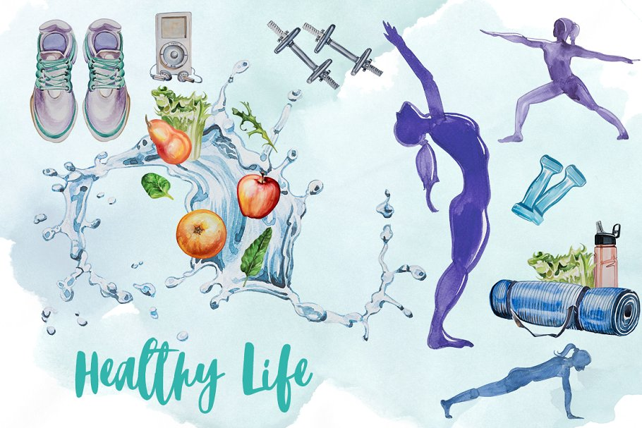 Healthy lifestyle clipart image library Watercolor Healthy Life Clipart image library