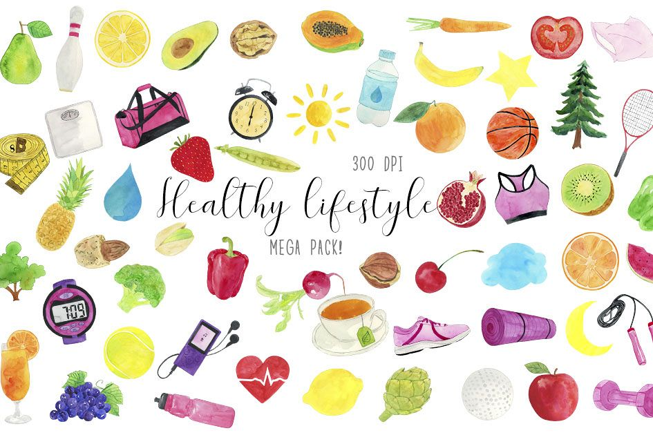 Clipart lifestyle vector library stock Watercolor Heathy Lifestyle Clipart, Healthy Life Clipart vector library stock