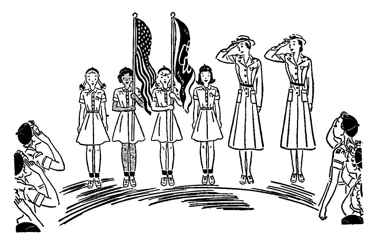 Clipart line drawing boy and girl saluting flag graphic royalty free Girl Scout flag ceremony vintage line art www ... graphic royalty free