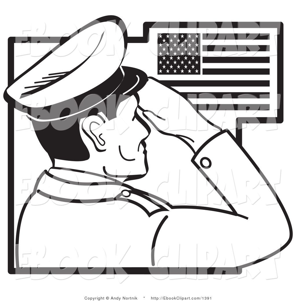 Clipart line drawing boy and girl saluting flag picture free stock clip art black and white | Clip Art of a Black and White Soldier ... picture free stock