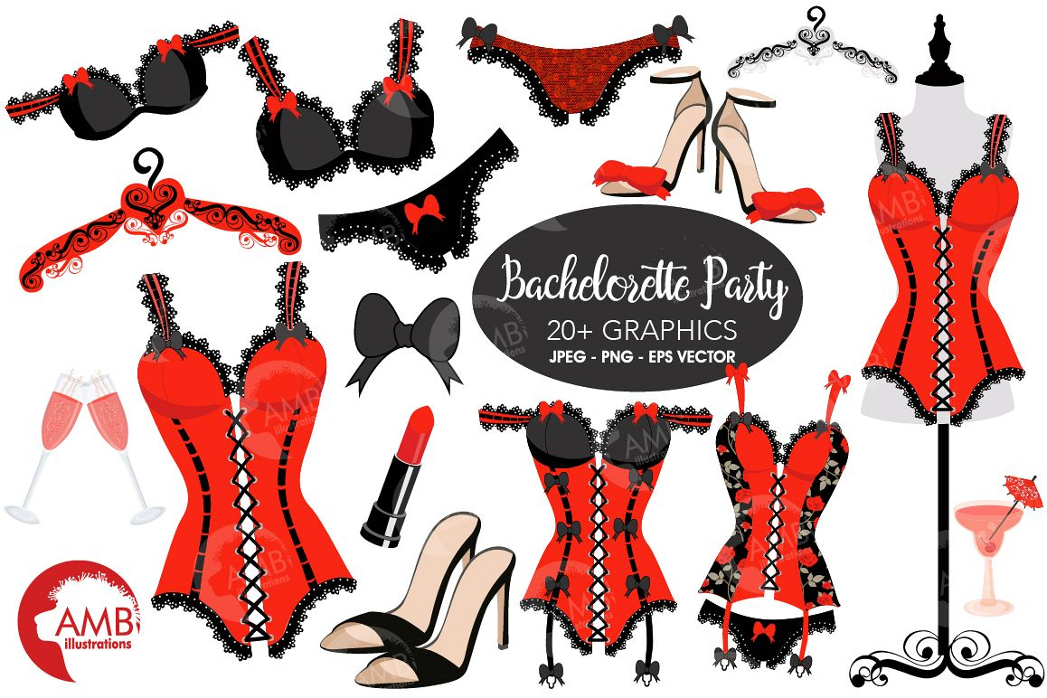 Lingeria clipart free stock Bachelorette Party, Lingerie Clipart-AMB-2208 free stock