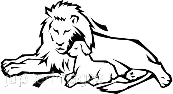 Clipart lion and lamb banner black and white library Lion And Lamb Clipart | Free download best Lion And Lamb Clipart on ... banner black and white library
