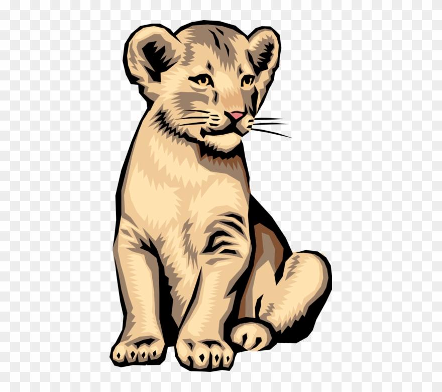 Lion and cub clipart graphic free Vector Illustration Of Big Cat African Lion Cub - Realistic Lion Cub ... graphic free