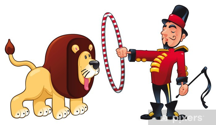 Clipart lion tamer image black and white download Lion Tamer with lion. Vector circus illustration. Wall Mural - Vinyl image black and white download