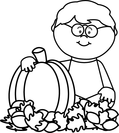 Clipart little boy falls black and white free picture royalty free library Fall Clip Art - Fall Images picture royalty free library