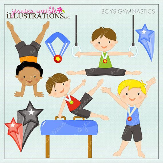 Clipart little girl falling tumbling png transparent stock Boys Gymnastics Cute Digital Clipart - Commercial Use OK ... png transparent stock