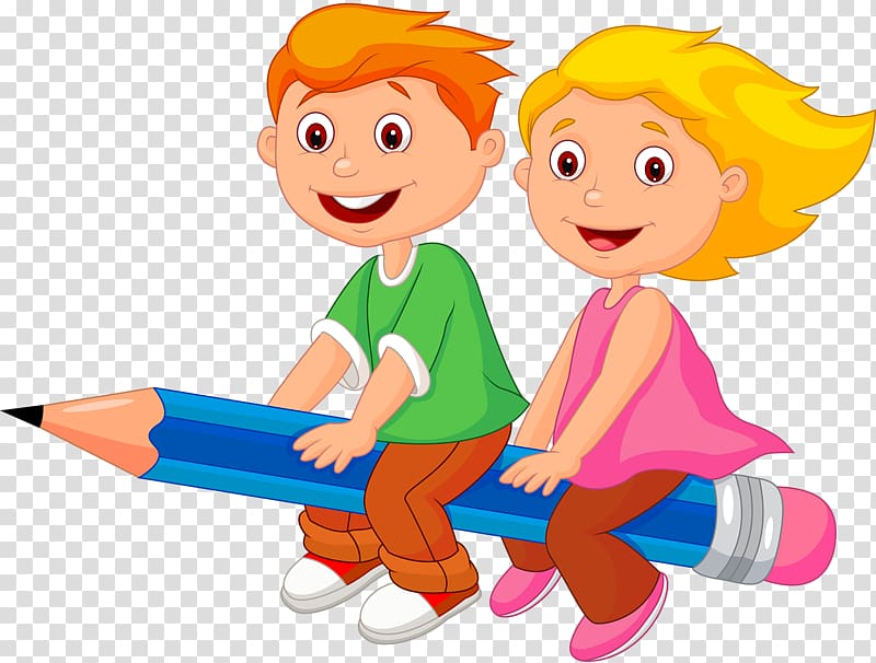 Clipart little girl sitting down transparent background graphic transparent download Boy and girl riding on pencil , Girl Cartoon , Children sitting on ... graphic transparent download