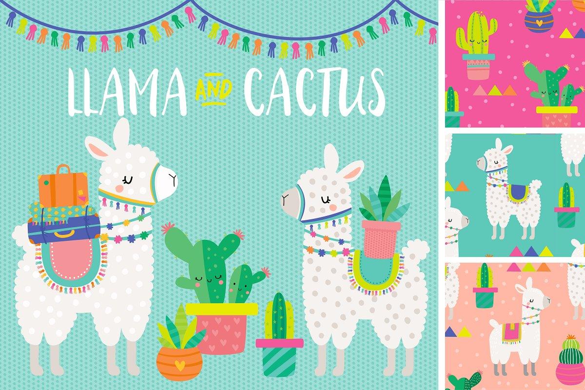 Llama clipart images banner transparent Llama & Cactus Clipart banner transparent
