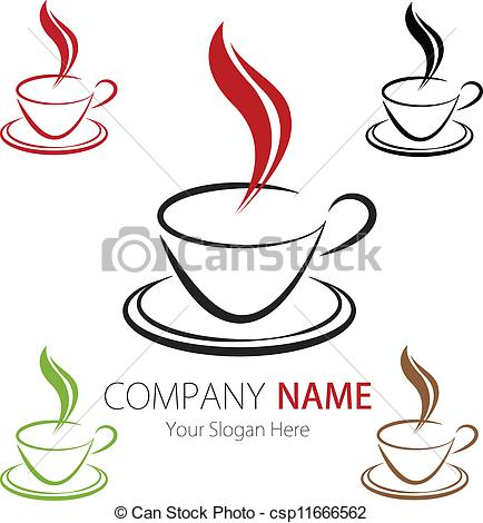 Clipart logo creator image library download Clip Art Vector of Company Logo Design Coffee Cup - Vector image ... image library download