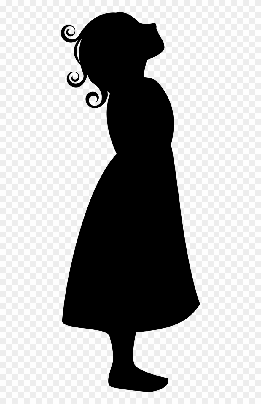 Clipart looking up black and white library Girl Silhouette Remake - Girl Looking Up Clipart - Png Download ... black and white library